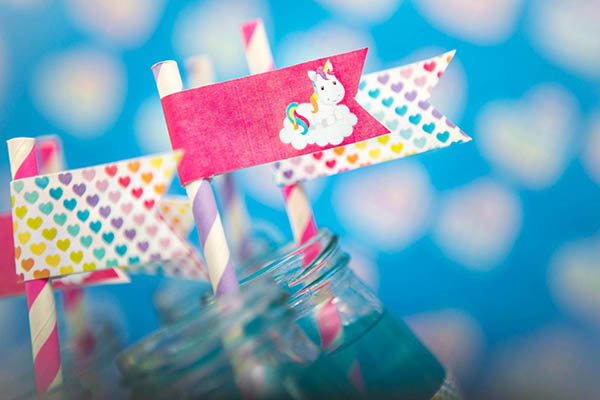 Rainbow Unicorn Flag Straws