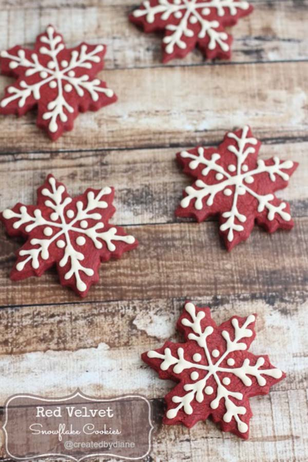 Red Velvet Snowflake Cookies!
