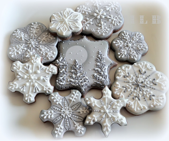 Silver Snowflake Cookies For Christmas