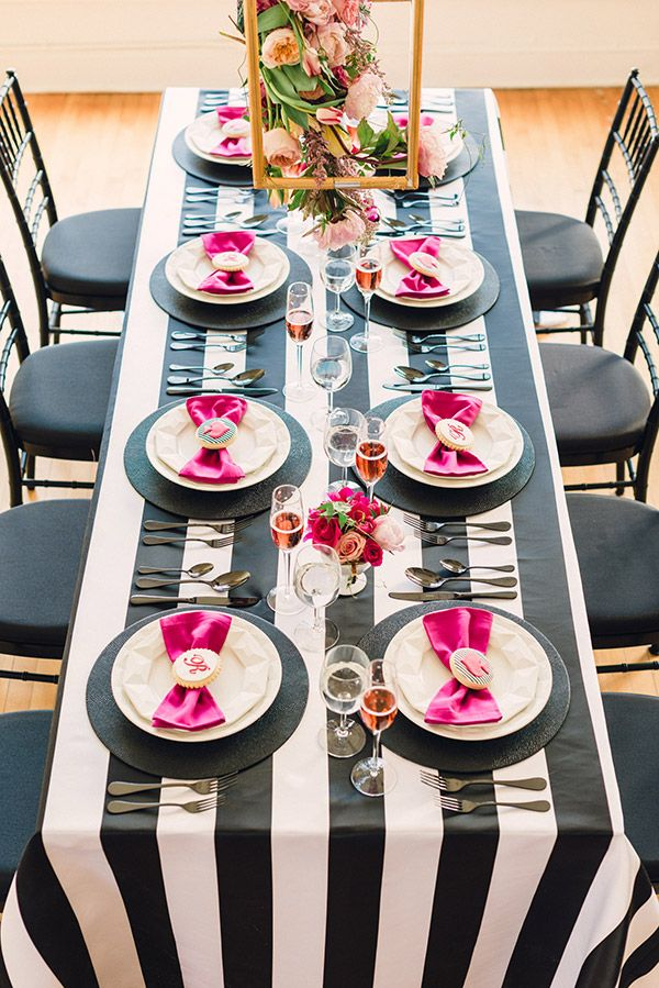 Kate spade bridal shower ideas galore b lovely events for Black and white tablescape ideas