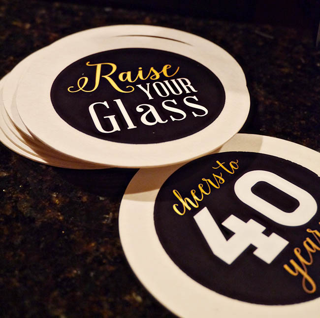 Custom 40th Birthday coasters