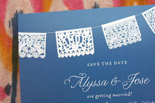 can't get enough of papel picados! - b. lovely events, Wedding invitations