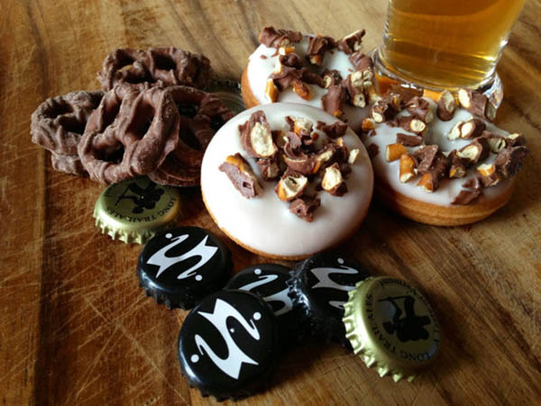 Beer & Pretzel donuts- Perfect for Dad on Father's Day!