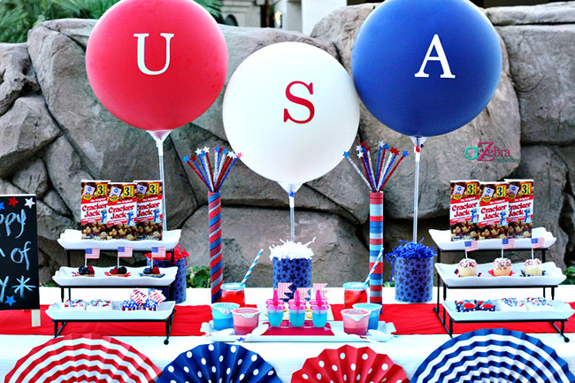 USA Balloons! Love this for a 4th of July Party