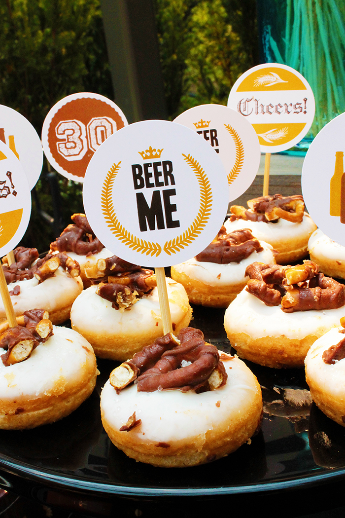 Beer Me- Beer donuts for Dirty Thirty Beer Party