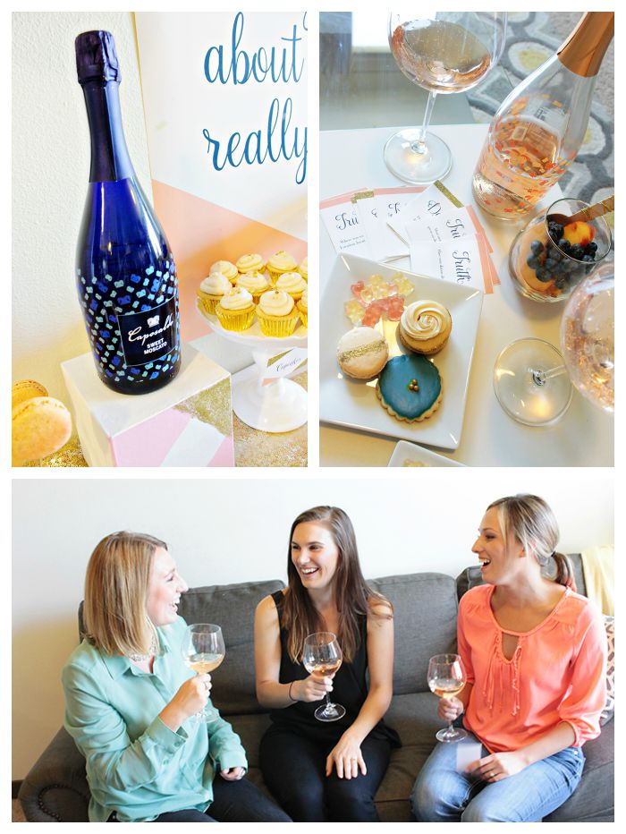 Pretty Peach Navy And Gold Girls Night In-Perfectly paid with Caposaldo Sparkling Moscatos!!