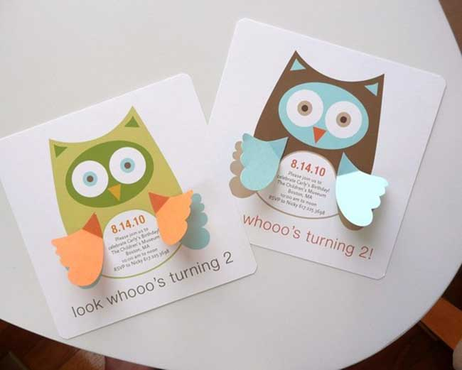 Adorable Woodland Party Owl Invitations