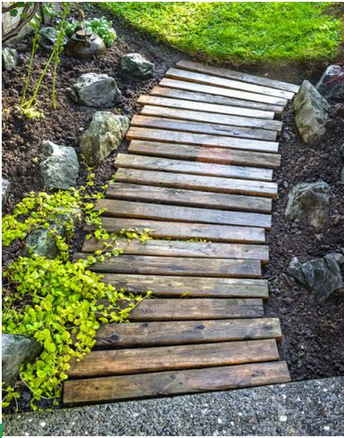 Wood walkways can make patios so pretty!