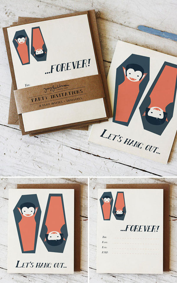 Cute retro vampire Halloween Invitations!