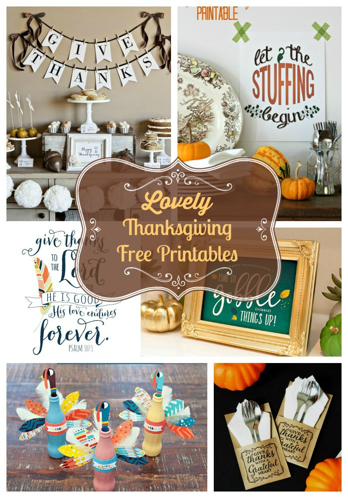 10 Lovely Thanksgiving Free Printables- B. Lovely Events