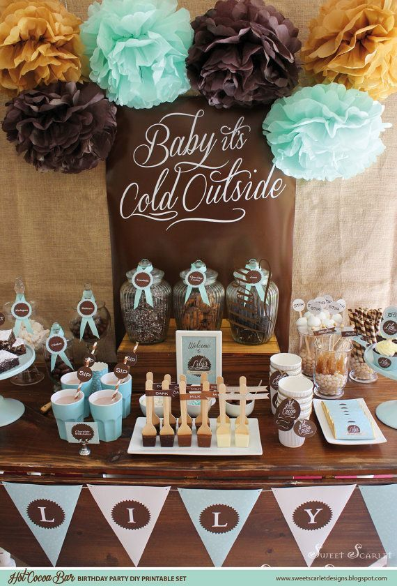 Cute baby shower Hot cocoa bar!