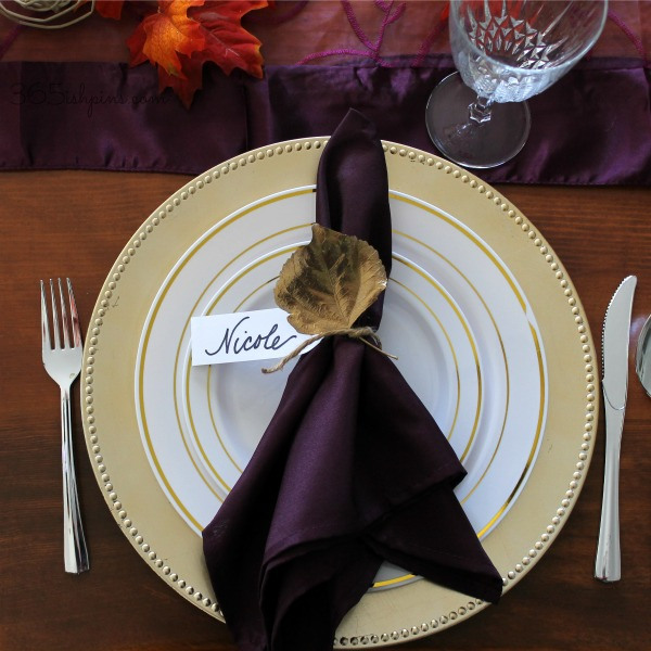 Pretty Gold leaf thanksgiving place cards