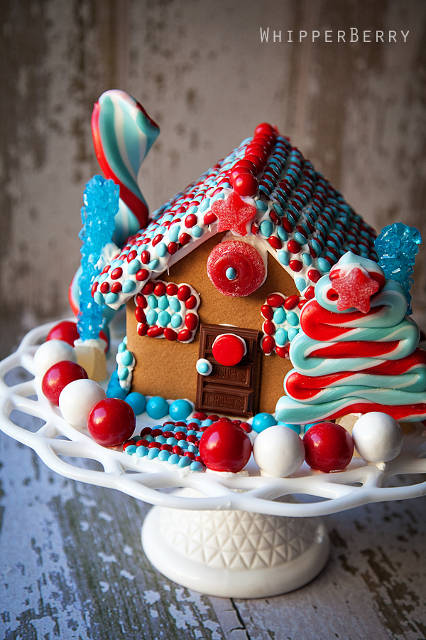 Blue And Red Modern Gingerbread House!