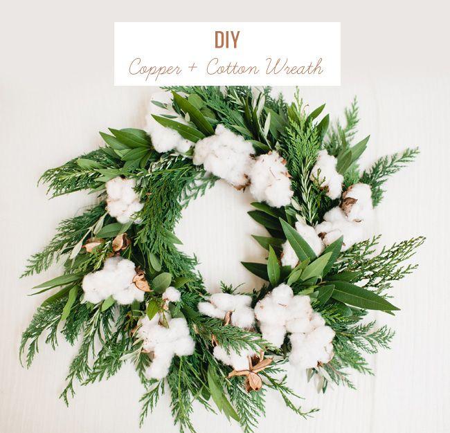 Copper Cotton Christmas Wreath