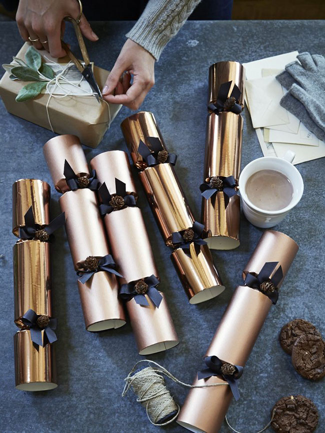 Modern DIY Copper Holiday Poppers