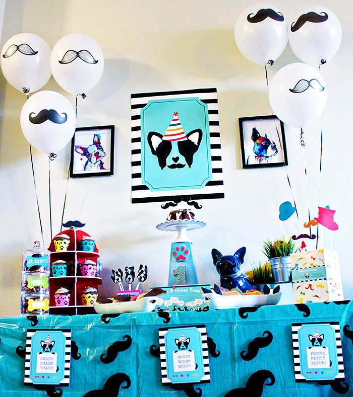 Fun Pupstachio Mustache Doogie Birthday Party - B. Lovely Events