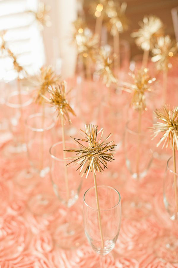 Gold Tinsel Pom pom drink stirrers