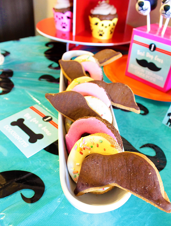 Pupstaciho Mustache Dog Party Treat Cookies - B. Lovely Events