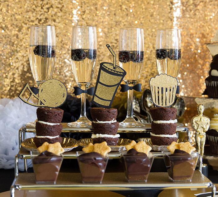 Black and gold Oscar Party- Dessert Ideas -See More Oscar Party Ideas On B. Lovely Events