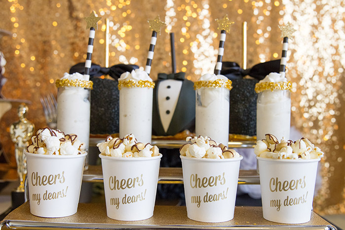 Black and gold Oscar Party- Dessert Treats -See More Oscar Party Ideas On B. Lovely Events