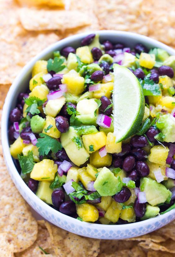 Yummy Mardi Gras Pineapple avocado bean salsa! -See More Of The10 Best & Yummy Mardi Gras Recipes - B. Lovely Events