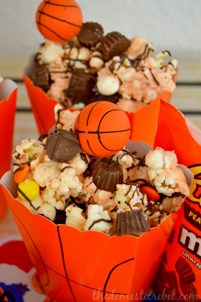 Basketball Party Popcorn Mix! - See More March Madness Basketball Snacks On B. Lovely Events