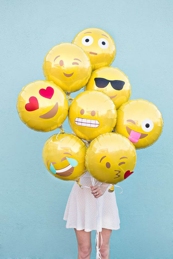 Emoji Party Balloons - See more amazing party trends for 2016 at B. Lovely Events!