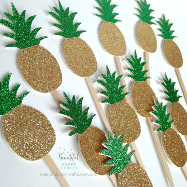 Gold Pineapple toppers are so cute! - See More Lovely Pineapple Party Ideas At B. Lovely Events!