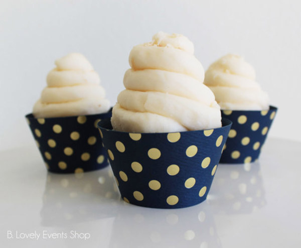 Gold and navy polka dot cupcake wrappers- See The new gold cupcake wrappers at B. Lovely Events Shop