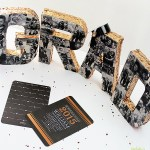Gold Sequin graduation-party-photo-centerpiece- See More Gold Graduation Ideas on B. Lovely Events