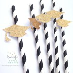 Gold Grad Hat Straws! - See More Gold Graduation Ideas on B. Lovely Events