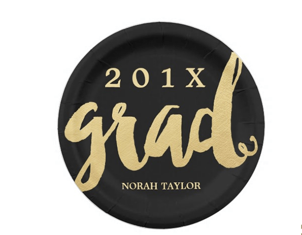 Gold and black Graduation plates - See More Gold Graduation Ideas on B. Lovely Events