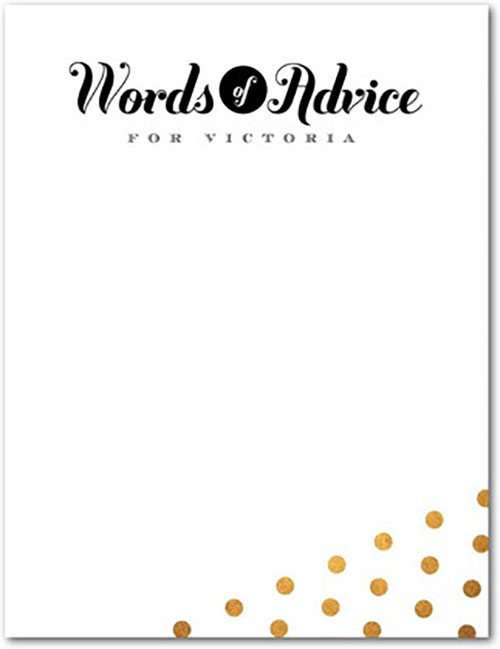 Gold confetti words of advice for the grad cards- See More Gold Graduation Ideas on B. Lovely Events