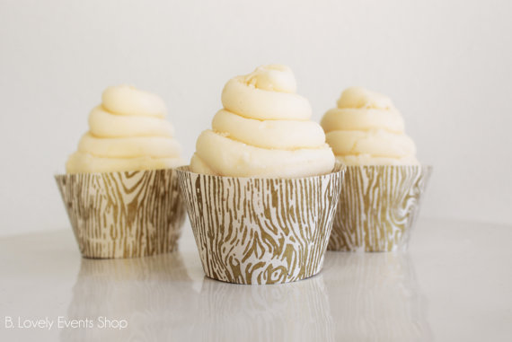 Rustic And Chic Gold Wood Grain Cupcake Wrappers- Shop them on B. Lovely Events Shop