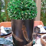 Lovely Natural Outdoor Topiary Centerpiece- See More Woodsy Tablescape Details On B. Lovely Events