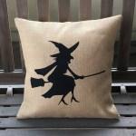 Fun Witch Silhouette Halloween Pillow