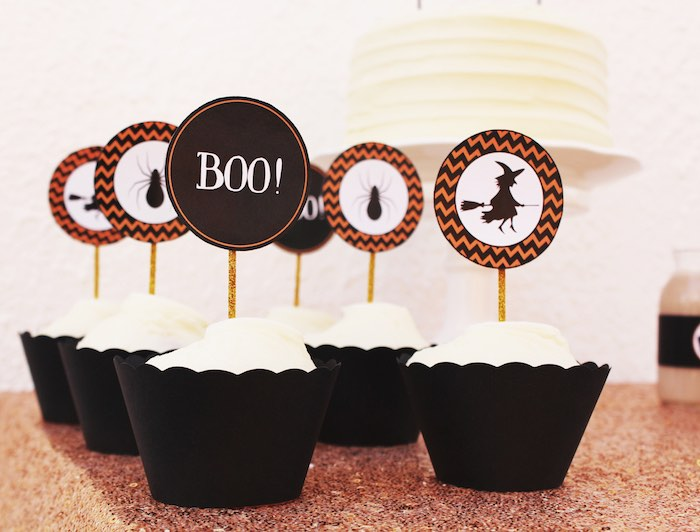Halloween Silhouette Cupcakes and toppers