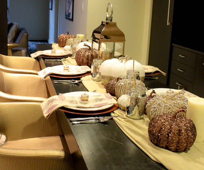 Metallic gold, silver and bronze Thanksgiving Tablescape- B. Lovely Events