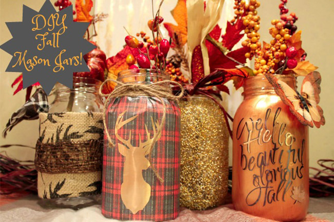 DIY Fall Mason Jars- Learn how to make them on B. Lovely Events
