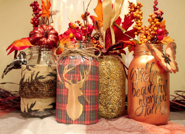 DIY Fall Mason Jars- So Lovely! Get the Step By Step Instructions on B. Lovely Events