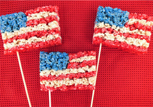 American Flag 4th of July Rice Krispies - See all 8 AWESOME 4th of July Rice Krispy ideas on B. Lovely Events!