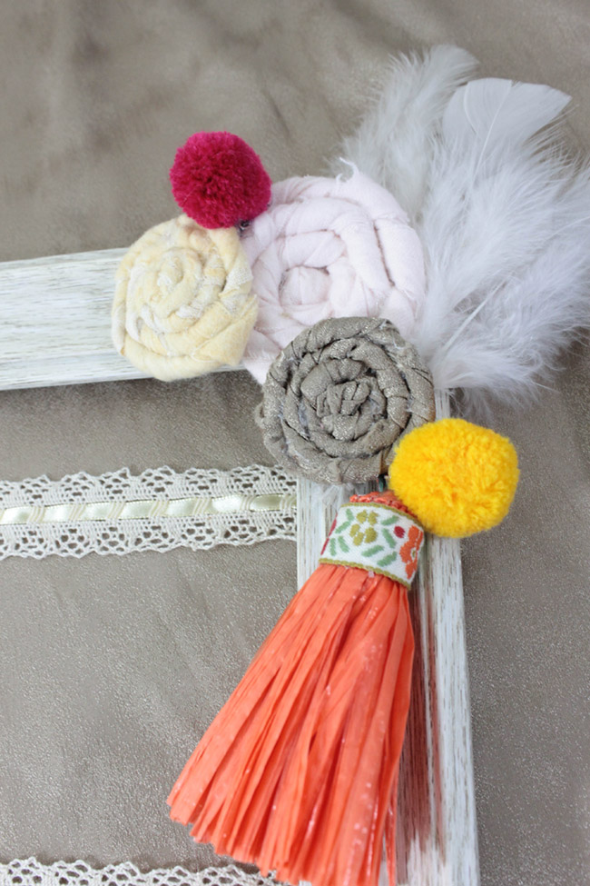 DIY Boho baby accessory frame - learn how to make this on B. Lovely Events