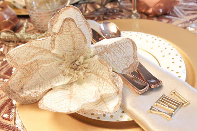New Year's Eve Tablescape and place setting- Lovely! B. Lovely Events