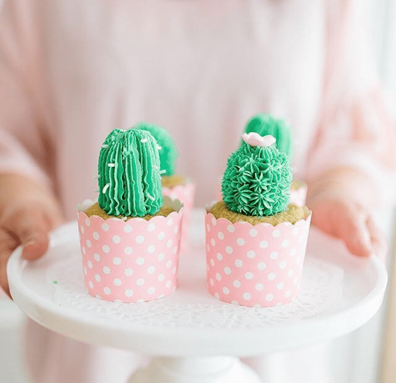 Cactus cupcake for llama party - See more llama party love on B. Lovely Events