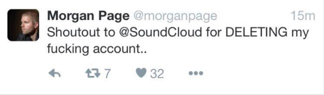 Morgan Page 為 SoundCloud 上的知名用戶,卻遭到官方刪除帳號。(via Digital Music News)