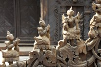 teak temple door detail