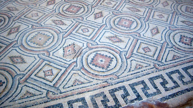 Some of the mosaics in the public building looked like ornate carpets.