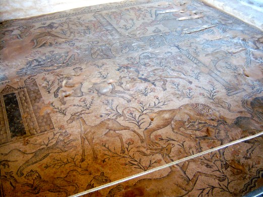 This panoramic mosaic depicts several different hunting stories. These grand mosaics were found in a public building with many rooms.