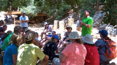 We find a shady spot to listen to Matthew 16:13-28, where Peter confesses that Jesus is the Messiah.