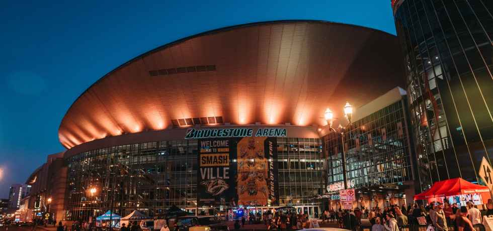 modern sports arena in nashville at night